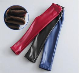 Pantalon bébé pantalon crayon en Ligne-2018 bébé filles Leggings hiver enfants épais velours Leggings crayon pantalon enfants pantalons chauds Faux PU cuir Legging Slim Pant