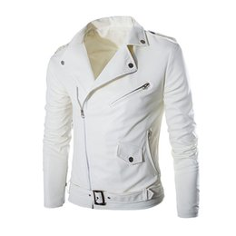 white biker jacket men Promo Codes - 2018 New Fashion Brand Long Sleeve Men Classic Design Multi-Zippers Biker Jackets Bomber Leather Jackets Punk Coats