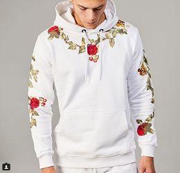 magliette floreali Sconti Mens Hoodie di stile di modo maschio ricamo floreale con cappuccio a maniche lunghe Felpa per uomini e donne M - 3XL