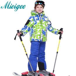 детские зимние пальто Скидка Mioigee 2018 спортивный костюм для мальчика девочка детские наборы зимний лыжный костюм детская одежда куртка пальто + лыжные брюки спорт
