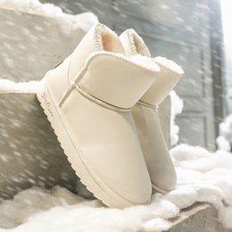 Botas de inverno brancas de pelúcia on-line-Mulher botas de inverno neve Botas Plataforma Moda de borracha Plush Keep Warm Black White Ladies Sapatos de couro tornozelo mulheres 2019