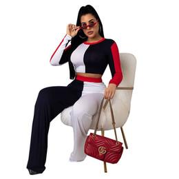 Deutschland Frauen 2 Stück Hosen Designer Sommerkleidung getäfelten Hosenanzug sexy Rundhalsausschnitt Langarm Bodycon Ernte Top Mode weites Bein plus Größe 41 supplier women wide leg pant suits Versorgung