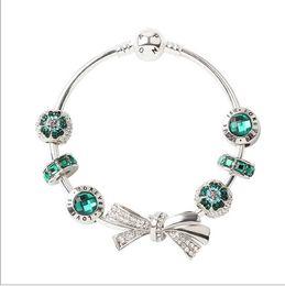 Pulsera de pelota verde online-Moda 925 plata esterlina verde cristal bowknot granos europeos del encanto del corchete del brazalete adapta pulseras del encanto de Pandora pulseras de las mujeres del estilo
