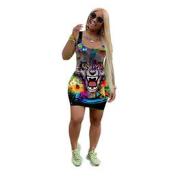 Mujeres sexy vestidos de verano mini faldas de tigre de impresión sin mangas vestidos flacos moda nuevo estilo de la calle club nocturno trajes más el tamaño s-2xL 808 desde fabricantes