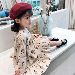 2019 vestido kids cute casual impresso 2019 outono puro algodão bonito cereja impresso manga longa vestidos de princesa para meninas crianças crianças vestido casual solto SH190908 vestido kids cute casual impresso barato