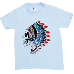 indian style shirt Coupons - Red Indian Skull Chief Wearing Tribal Feathers Kids Boys   Girls T-Shirt Style Round Style tshirt Tees Custom Jersey t shirt