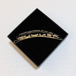 Letras alfanuméricas on-line-8.5X1.5 CM C carta moda pin cabelo Clássico Moda strass letras acessórios para o cabelo com caixa de presente, metal clássico Clipe De Cabelo 2 pçs / lote