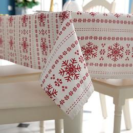 Nappes rouge en coton en Ligne-Personnalisable Lin Coton Nappe Flocons De Neige Rouge Nappe De Table pour le Banquet De Mariage Lavable Table Cover Textiles