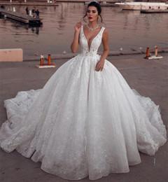 encaje noble Rebajas Noble blanco 2019 vestido de bola Vestidos de novia Apliques de encaje lleno Cuello hundido Tren Corte Estilo árabe Dubai Vestidos de novia de lujo BC1993