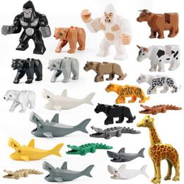 Bloco de urso on-line-Série animal Tubarão Tigre Preto Pather Girafa Urso Gorila Blocos de Construção de Brinquedos Educativos Para Crianças