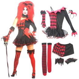 2019 красные костюмы дьявола женщины Halloween Party Cosplay взрослых женщин Red Devil Jesterina клоун костюм платье штаны стяжкой Перчатки Носки дешево красные костюмы дьявола женщины