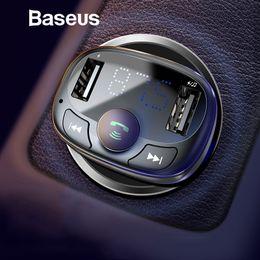Cargador dual universal móvil online-Baseus Cargador de coche para iPhone Kit de coche Bluetooth para teléfono móvil Reproductor de MP3 Manos libres Transmisor FM Radio Dual USB Cargador de teléfono para automóvil