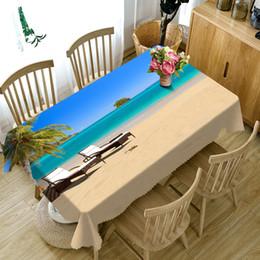 Gelbe strandhochzeit online-3D Tischdecke Seaside Beach Pattern Washable Cloth verdicken rechteckige und runde Tischdecke für Hochzeit Manteles