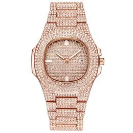 Женские часы ремень онлайн-2019  Fashion Bussiness Steel Belt Calendar Watch Full Of Diamonds Wrist Watch Ladies Rhinestone Clock Reloj Mujer