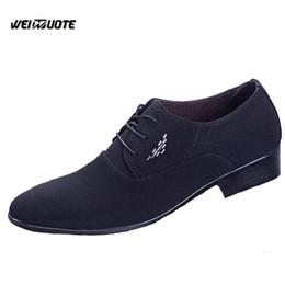 2019 sapatas de vestido da lona dos homens WEINUOTE Novo Design Homens Moda Lace up Sapatos de Vestido Masculino Sapatos de Lona de Negócios Sapatos Masculinos Dedo Apontado Toe Casamento Formal sapatas de vestido da lona dos homens barato