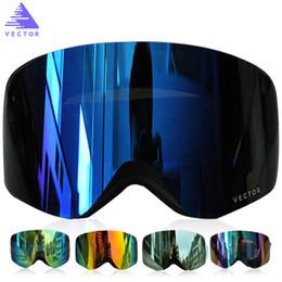 Gafas para esquiar online-VECTOR Marca de esquí Hombres y mujeres Gafas de doble lente UV400 anti-vaho gafas de esquí de nieve Gafas adulto Gafas de esquí snowboard