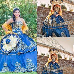 2019 dulce verde 15 vestidos flores Quinceañera mexicana Detalle de lujo Bordado de oro Vestidos de quinceañera 2019 Vestido de fiesta de disfraces Royal Blue Sweety 16 Vestido de fiesta de graduación para niñas