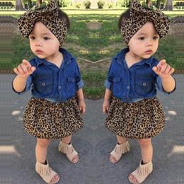 leopardo da sarja de nimes caçoa a camisa Desconto Ins leopardo Meninas Outfits bebê menina terno 3 pçs / set camisa denim + Saia + arcos headband Crianças Define meninas Vestido Ternos crianças roupas de grife A4740