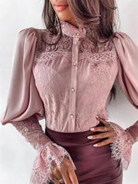 blusa de manga comprida rosa ruffle Desconto Moda Womens Tops e Blusas elegante do laço camisa de manga comprida roupa de desgaste das senhoras Magro Bodycon blusa feminina Senhora do escritório