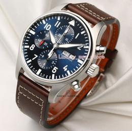 смотреть пилот Скидка Unworn Full-Set Модернизированная версия Принц Роскошные наручные часы 46MM Big Pilot Blue Dial 377714 кварцевый хронограф мужские часы