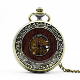 деревянные часы механические Скидка Античный стимпанк WoodBronze Римский номер кулон цепь автоматические механические карманные часы мужчины женщины ювелирные изделия подарок