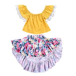 projetos da borboleta da roupa Desconto Conjuntos de duas peças Crianças Roupas de Design de Moda Bebê Roupas de Menina Fora do Ombro Tops de Verão Do Bebê Menina Roupas de Verão 19051301