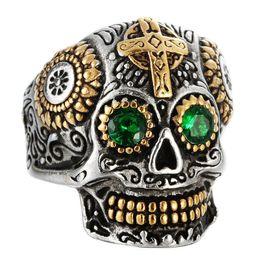 Cruz gótica de acero inoxidable online-Nuevo Hiphop Cool Death Skull Head Ring Anillo de talla gótica para hombre Anillo de calavera cruzada de acero inoxidable 316L Accesorios de joyería de Halloween