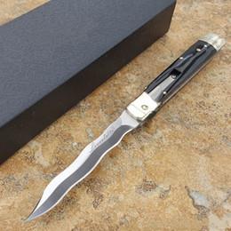 Cuchillo serpiente online-OEM mafia más 9 pulgadas leverletto D2 ola hoja de serpiente Cuerno Natural manija del bolsillo ITA cuchillo auto cuchillo plegable cuchillos de camping 1 unids