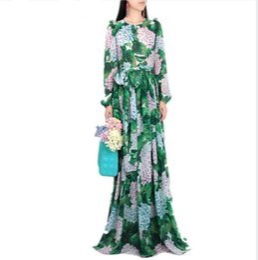 Canada Nouvelle 2019 Piste Hortensia Floral Automne Robe Femmes Feuilles Vertes Fleur Imprimer Diamant Boutons À La Cheville-Longueur Plissée Robes De Mousseline De Soie Offre