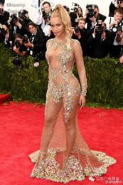 encontrar bolas Desconto Sheer Beaded Vestidos De Noite Beyonce Met Bola Tapete Vermelho Nua Celebridade Prom Vestidos Ver Através Vestido Formal Sweep Trem Backless