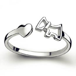 100% 925 sterling silver moda bonito cão animal feminino festa anéis jóias não se desvanece mulheres anel aberto presente de aniversário atacado de