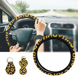 Ruote sterzanti a catena online-Coprivolante per auto Girasole Car styling con 2 portachiavi Accessori per auto Coprivolante regolabile per donna