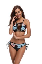 Traje divertido online-Sexy Floral Biniki mujeres hermoso traje de baño para el verano diversión del agua buena calidad entrega rápida traje de baño vendaje traje de Bikini