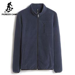 2019 gestreifte lederjacken männer Warme Sweatshirts Männer Markenkleidung Solide Fleece-Reißverschluss Hoodies Männliche Top-Qualität Dunkelblau AJK702388