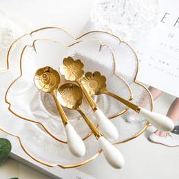 Cucharas de cerámica online-Cucharas de flores Cerámica mango de una cuchara de talla multicolor de cuchara de café Utensilios de cocina de la historieta encantadora 2 7qd UU