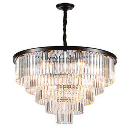 Brillo de luz led online-American Lustre Lámparas de cristal Lámparas de techo colgantes de metal Luces de iluminación led Lámparas de comedor Comedor Accesorios colgantes Cristal claro 100-240 V