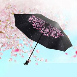 2018 New Creative Gifes Diseñador Romántico Flores de cerezo Soleado y lluvioso Paraguas Colorido Tres pliegues invertidos a prueba de viento 8 Cintas suaves desde fabricantes
