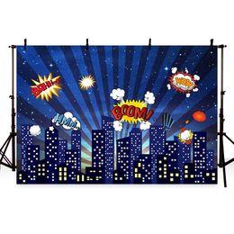 2019 computador, pintado, fundos Fotografia fundo azul superhero building boom dos desenhos animados para menino aniversário backdrop photocall Backdrops Para Estúdio de Fotografia
