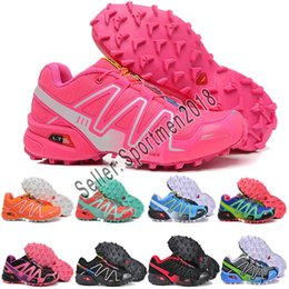 Zapatos casuales a prueba de agua online-Salomon mujer Hombre Solomons Speedcross 3 CS Trail Zapatos casuales mujer Zapatillas ligeras Azul marino Solomon III Zapatos Zapatillas de deporte impermeables mujer