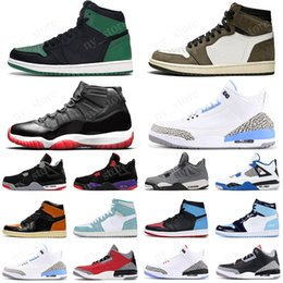 sports fire Promo Codes - 2020 Bred 11s mens Basketball Shoes 1 1s Pine Green UNC Travis Scotts 4s Cactus Jack 5s Fire Red trainer sports sneakers