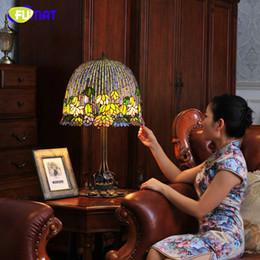 2019 buddha di luce di loto Lampada da comodino in vetro Art FUMAT in stile europeo Lampada da comodino in giglio d'acqua con paralume in vetro colorato