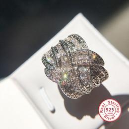 runde diamant-einstellungen Rabatt Mode Weave Winding Design echte 5A Micropave Kristall Zirkon stein 925 sterling silber Verlobungsring für frauen Luxus schmuck