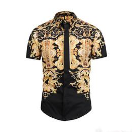 francia moda casual Rebajas 2019 Camisas de vestir de los hombres Francia High Street Fashion Harajuku Camisa Casual Hombres Medusa Negro Oro tigre leopardo Fancy Slim Fit camisas