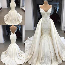 robe de mariée en satin Promotion Dubaï arabe luxe robes de mariée sirène magnifique avec détachable train dentelle appliques illusion taille haute robe de mariée