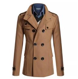 Мужская двубортная куртка продажа онлайн-Горячие Продажи Пальто Мужчины Двубортный Британский Стиль Кашемир Мужские Пальто Высокое Качество Шерстяная Куртка Длинное Пальто