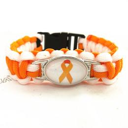 2019 laranjas cancro Feitas à mão Leucemia Cancer Awareness Charme Pulseira Paracord Pulseira Laranja s Pulseiras Para O Homem Mulher 10 pçs / lote desconto laranjas cancro