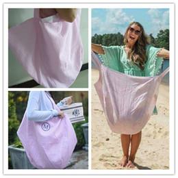 Bolso de playa azul online-Seersucker Striped Beach Tote HOBO BAG Bolsos Mujer Duffle Bag Tote Oversize Azul Púrpura Marrón Verde Un bolso de hombro Bolsos al aire libre A418010