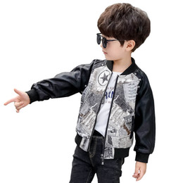 chicos de moda chaquetas de cuero Rebajas Moda Pu cuero niños chaqueta remache niños abrigos grandes niños ropa de diseñador niños abrigo niños ropa de diseñador niños outwear retail A8180