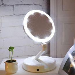 espelho de maquiagem de aço inoxidável Desconto Portátil LED Iluminado Maquiagem Espelho Da Vaidade Compact Make Up espelhos De Bolso Vaidade Cosméticos Espelho de mão 10X Lupas Novo