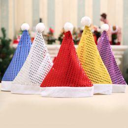 Decoración de gorros online-Lentejuelas de moda Adultos Sombrero de Navidad Moda Invierno cálido Pompon Sombrero de Santa Beanie Suministros de fiesta de boda Decoración del hogar TTA1594